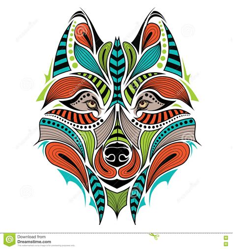 patterned colored of the indian patterned colored of the wolf vector