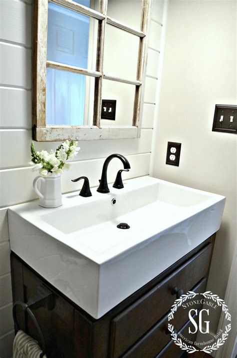 farm style bathroom sink farmhouse powder room reveal stonegable