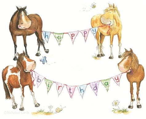 Birthday Cards With Horses On Them Horse Birthday Card Stickybud Cards Horse Pony And
