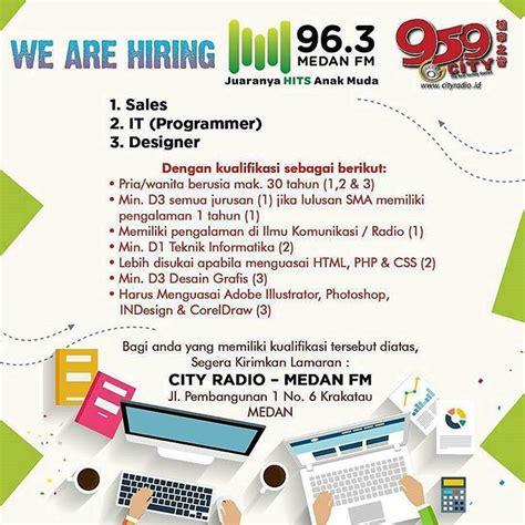 lowongan kerja medan grafik design web design di lowongan kerja di city radio dan medan fm lowongan kerja