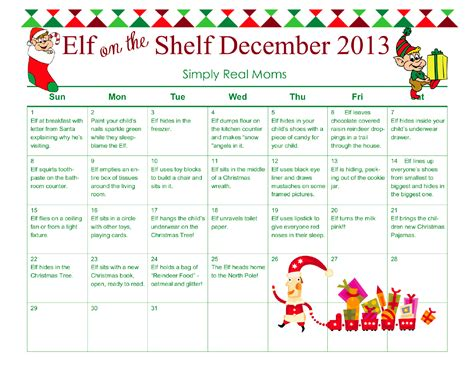 printable elf on a shelf pictures free elf on the shelf month long printable