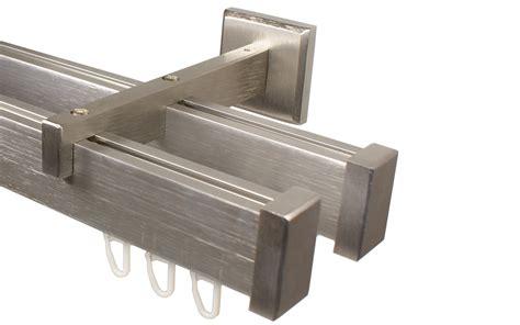 gardinenstange innenlauf 2 laufig edelstahl doppell 228 ufige vorhangstange in edelstahl optik im eckdesign