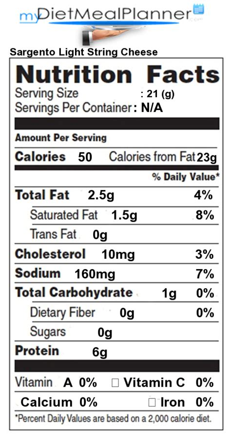 Nutrition Facts Label Popular Chain Restaurants 60 Light String Cheese Calories