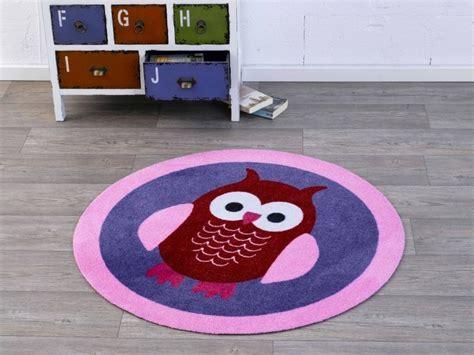 runder lila teppich velours kinder teppich eule lila rosa rot rund 100 cm