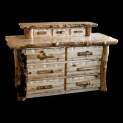 aspen lodge 6 drawer log dresser with jewelry drawers by