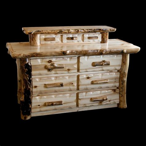 Dressers With Jewelry Drawers by Aspen Lodge 6 Drawer Log Dresser With Jewelry Drawers