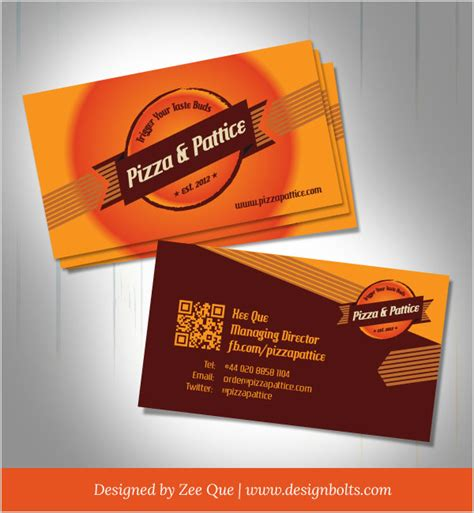 Namecard Kode Kartu Nama 1 Desaincetak free vector pizza pattice business card design template