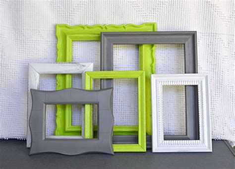 gray and lime green bedroom lime green grey white frames set of 6 upcycled by beautishe