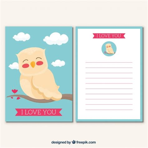 owl card template greeting card template with owl vector free