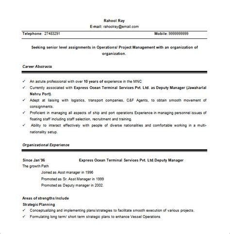 Project Manager Resume Template Free by Project Manager Resume Template 10 Free Word Excel