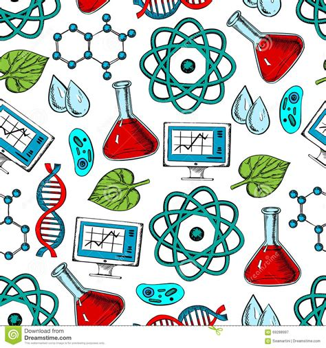 pattern lab less science and genetics seamless pattern stock vector image