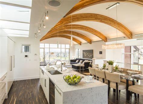 contemporary custom home  vancouver  unique arc roof