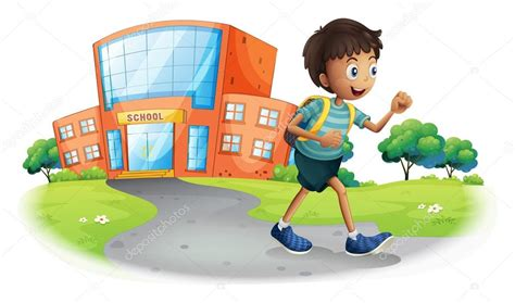 a boy going home from school stock vector