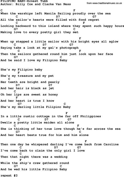 song lyrics tagalog country baby ernest tubb lyrics and chords