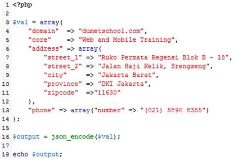 belajar membuat json dasar menggunakan json di php