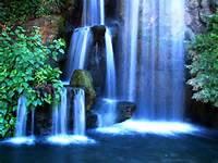 Beautiful Blue Waterfalls Big Fall Nature Small