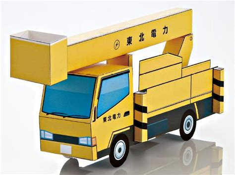 paper craft truck papermau hydraulic boom lift mounted truck paper model