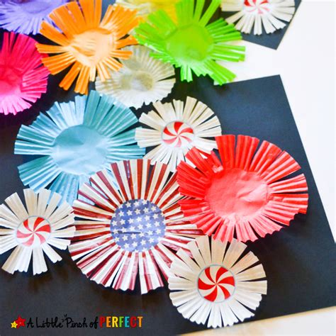 cupcake liner fireworks craft for to celebrate the
