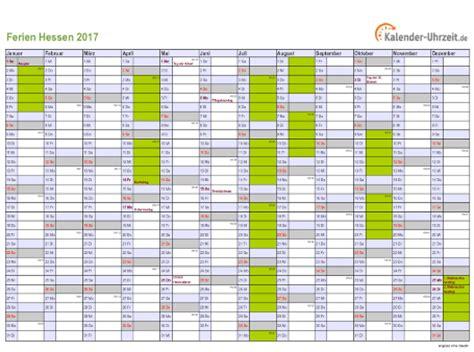 Individueller Kalender 2017 Ferien Hessen 2017 Ferienkalender Zum Ausdrucken