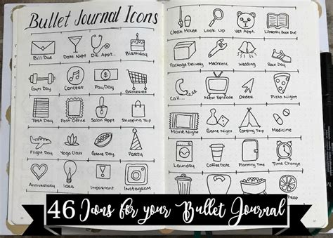 Online Layout Planner 46 icons for your bullet journal the petite planner