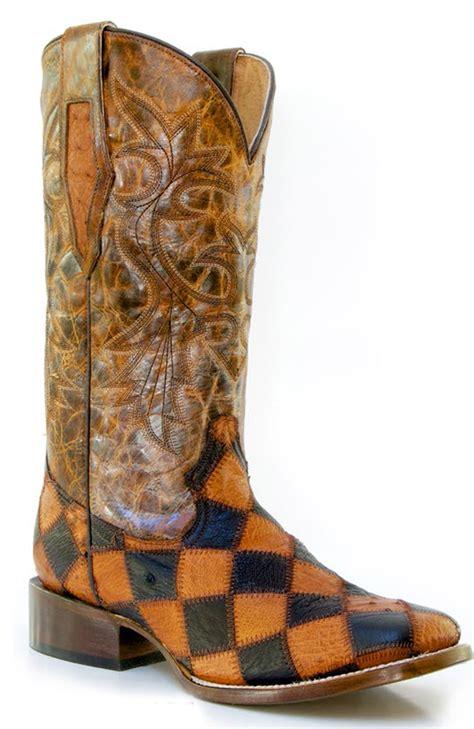 ostrich skin boots roper mens square toe ostrich skin patchwork cowboy