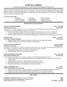 Exles Of Resumes For Internships by Accounting Internship Resume