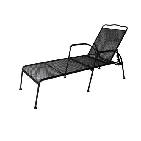Chaise Lounge Patio Chairs Shop Garden Treasures Davenport Black Steel Mesh 5 Position Patio Chaise Lounge Chair At Lowes