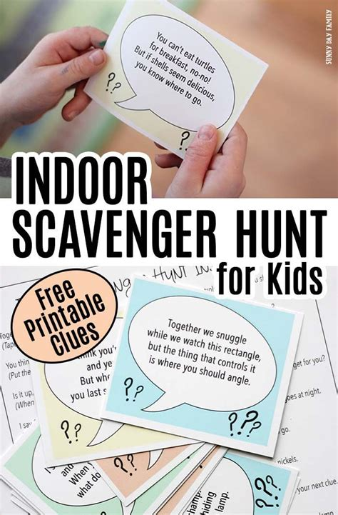printable birthday card hunting indoor scavenger hunt for kids with free printable clues