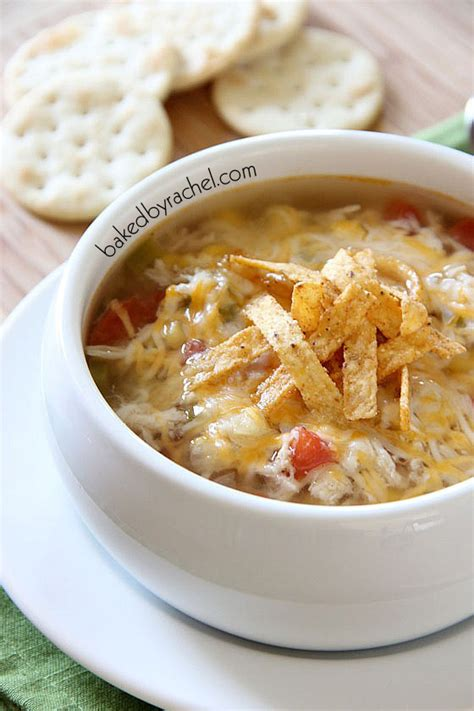 slow cooker chicken tortilla soup baked by rachel