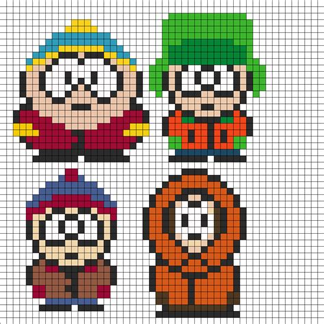 fused bead patterns south park perler bead pattern bead sprites characters