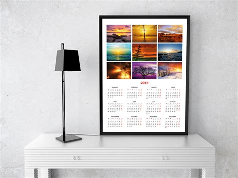 Calendar 2018 Wall Poster Photo Calendar Template For 2018 Year Printable Wall Calendar