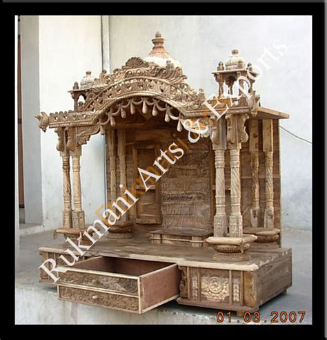 section wooden carved teakwood temple mandir wooden