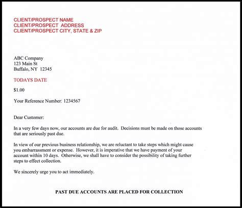 Customer Balance Letter Small Balance Collection Service
