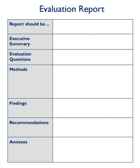 evaluation report template 27 sle reports sle templates
