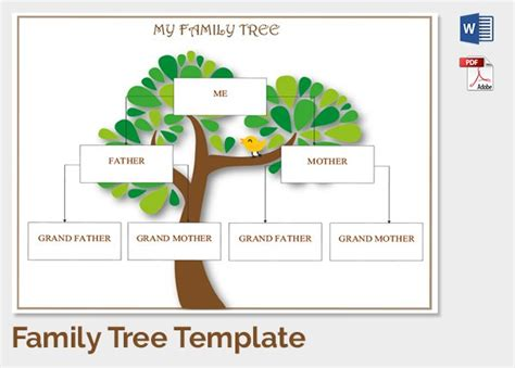 Family Tree Template 37 Free Printable Word Excel Pdf Psd Ppt Format Download Free Easy To Use Family Tree Template