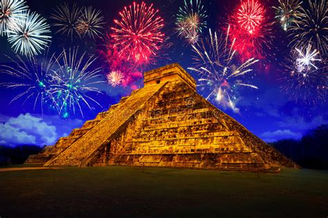 what is happy new year in mayan new years firework display in chichen itza stock images image 36465844