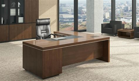 office tables l shaped office table in luxurious walnut finish boss s cabin