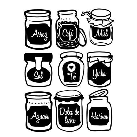 frascos decorados blanco y negro gorsh net pack de vinilo frascos de cocina