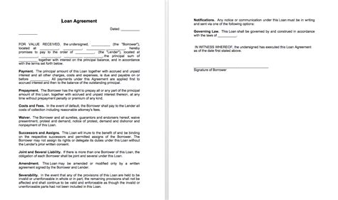 free simple loan agreement template sle of loan agreement between two top form