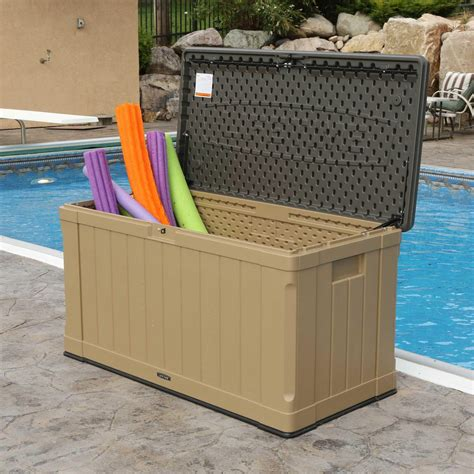 pool bench storage box lifetime 116 gallon outdoor organizer storage pool patio