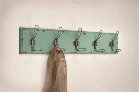 shabby chic rustic wood wall key holder coat hanger