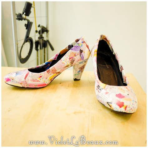 how to diy decoupage shoes tutorial violet lebeaux