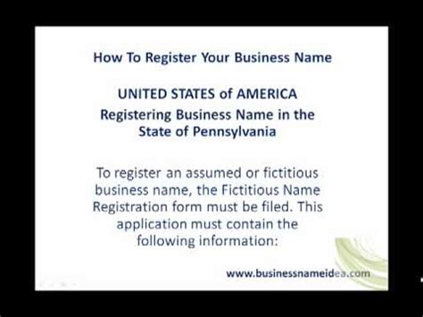 Pennsylvania Search By Name Registering Business Name In The State Of Pennsylvania