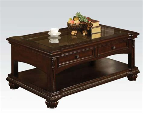 traditional coffee table traditional coffee table in cherry anondale by acme