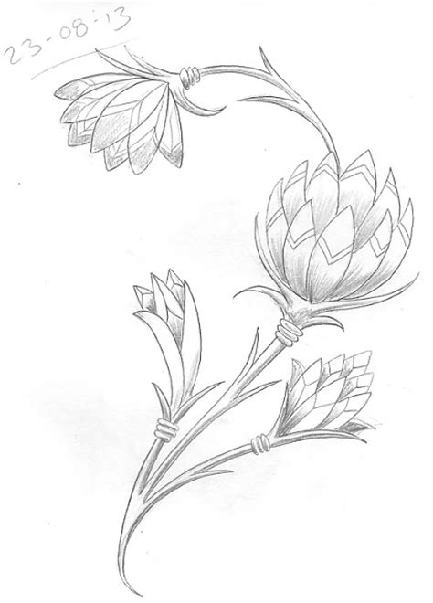 egyptian flower tattoo sketch a day august 2013