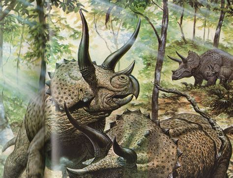 painting dinosaurs in the time of chasmosaurs vintage dinosaur de