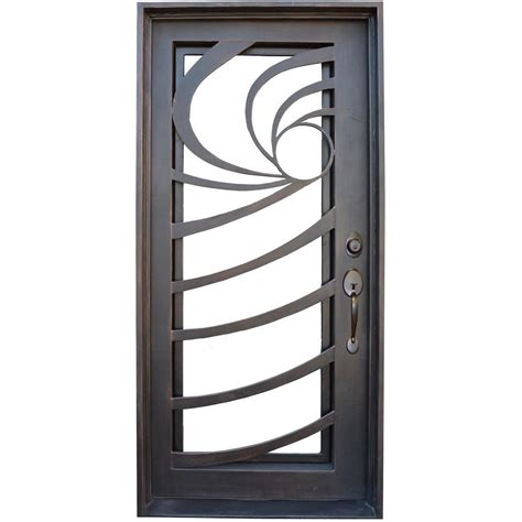 36 X 78 Exterior Door Trento 36 In X 78 In Contemporary Lite Bronze Finished Wrought Iron Prehung Front