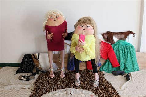 designboom friends bent over figures form hybrid human creatures and secret