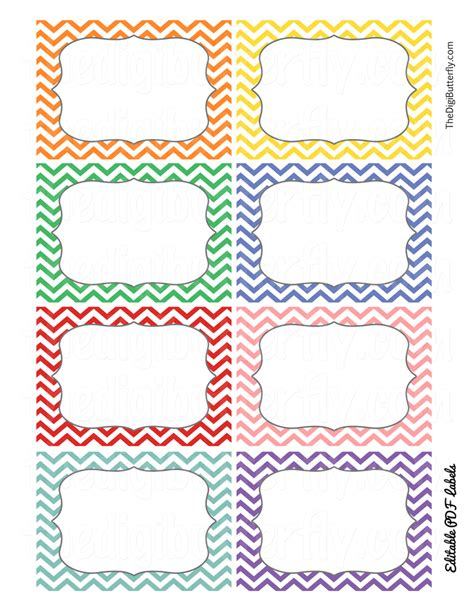 free classroom picture card templates printable print candee school chevron editable labels freebie