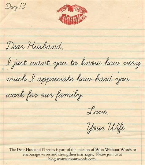 thank you letter for husband thank you dear husband won without words